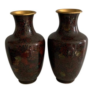 1960s Chinese Cloisonne Vases With Floral Decoration - a Pair For Sale