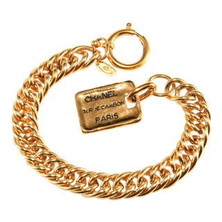Chanel Gold Colored Bracelet Rue Cambon Tag Charm For Sale