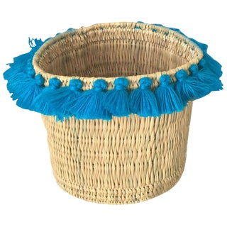 Moroccan Turquoise Tassel Large Basket For Sale