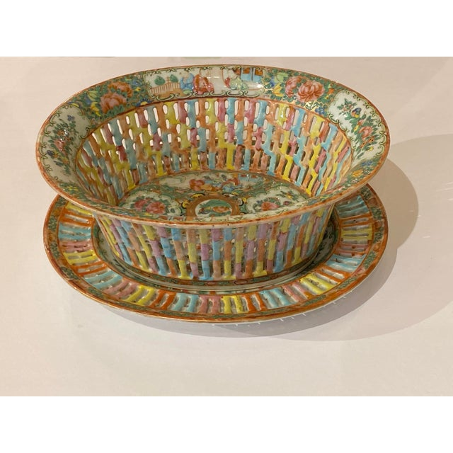 Asian Rose Medallion Pierced Bowl and Under Plate For Sale - Image 3 of 13