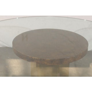 Vintage Mid Century American Brass & Burled Wood Pedestal Table W/ Glass Top Preview