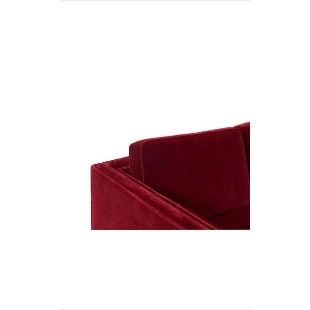 1970s Ward Bennett Red Mohair Tuxedo Sofa For Sale - Image 5 of 7