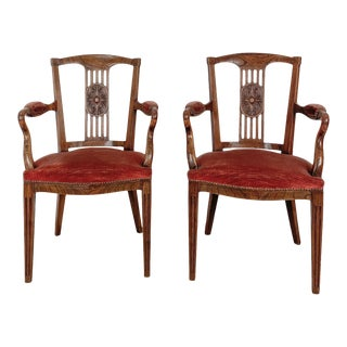Louis XVI Style Armchairs, Late 18th Century, Belgium, a Pair For Sale