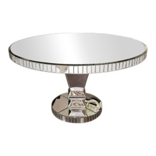 Custom Round Mirrored Dining Table For Sale
