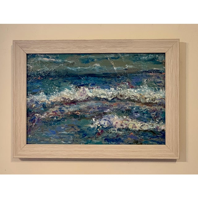 2020s Contemporary Abstract Seascape Original Oil Painting, Framed For Sale - Image 5 of 5