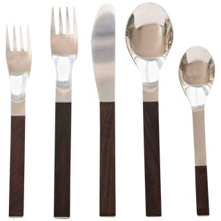 Rosewood Flatware Service for 12 by Carl Auböck for Rosenthal For Sale