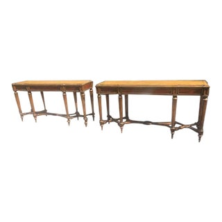 1950s Italian Style Marble Top Console Tables - a Pair For Sale