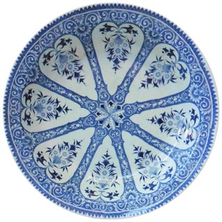 19th Century French Blue and White Platter Sarreguemines Francois
