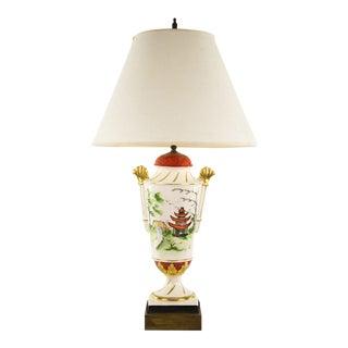 1970s Japanese Pagoda Scene White Porcelain Table Lamp For Sale