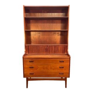Vintage Danish Mid Century Modern Teak Secretary Bookcase by Johannes Sorth For Sale