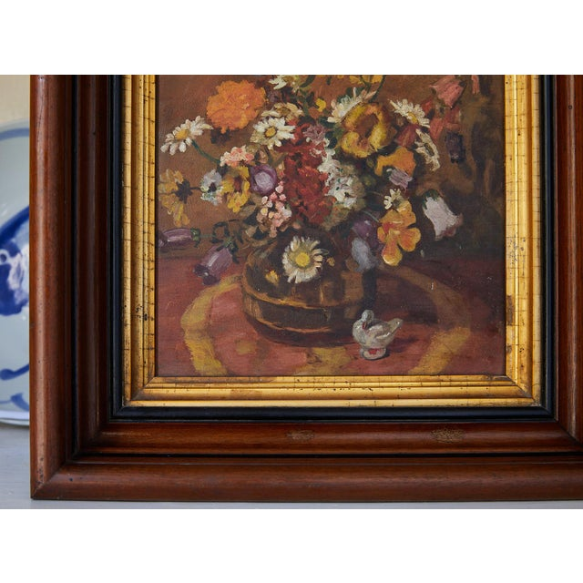 Early 20th Century Impressionistic Still Life of Wildflowers and Duck Figurine For Sale - Image 5 of 12