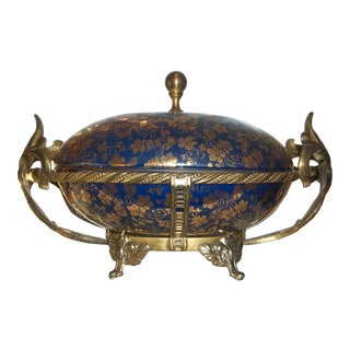 Antique 1940s Cobalt Blue Hand Painted Victorian Ladies Trimmed Gold Trinket, Jewelry, Candy Covered Dish For Sale
