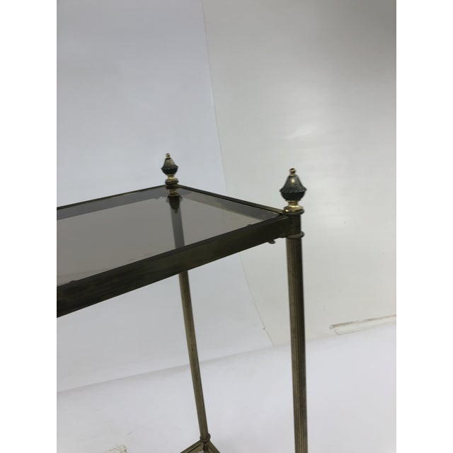 Mid Century Brass Two Tier Glass Side Table For Sale - Image 4 of 13