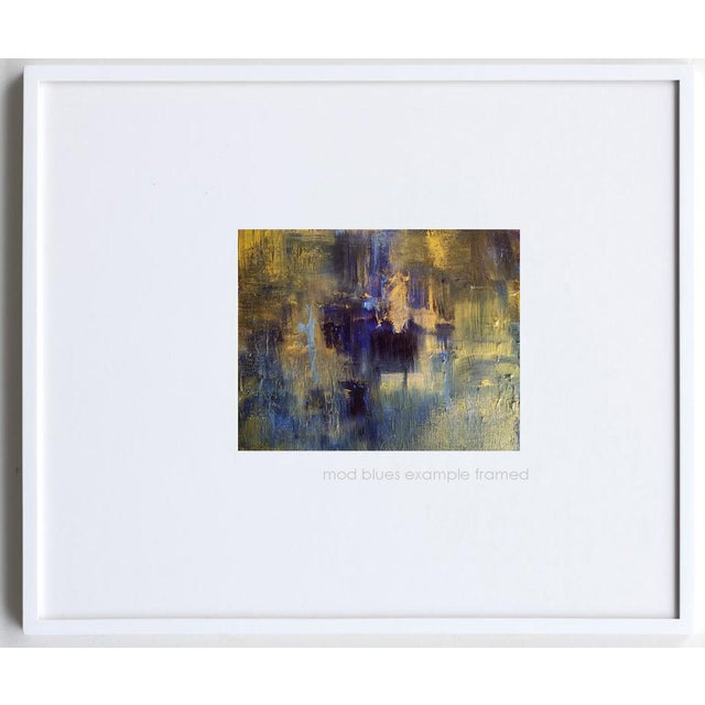 Original Abstract Modern Art Painting, Indigo Blue Gold on Metallic Canvas - Image 4 of 5