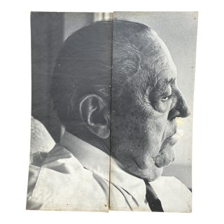 Mies Van Der Rohe Face Portrait, Original Installation Panels From the Art Institute of Chicago, Labeled - a Pair For Sale