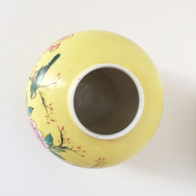 Japanese Porcelain Ware Yellow With Pink Flowering Branch and Bird Vase For Sale In Orlando - Image 6 of 12