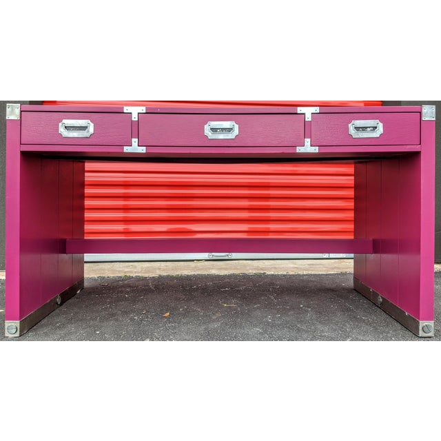 Boho Chic 1980s Glossy Raspberry Bernhardt Campaign Desk For Sale - Image 3 of 10