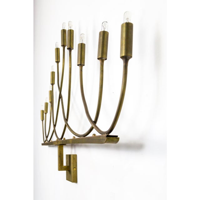 Brass Large Hollywood Regency Low Relief 10-Light Brass Sconces - a Pair For Sale - Image 7 of 9