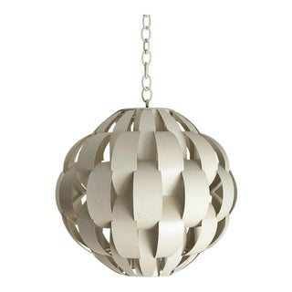 Vintage Modern Max Sauze Style Metal Ribbon Sphere Chandelier For Sale