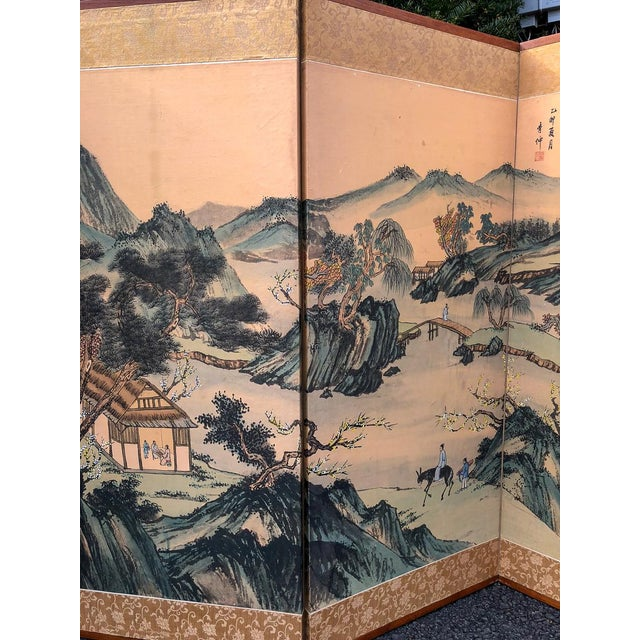 Vintage Silk Asian Folding Screen For Sale In Washington DC - Image 6 of 10