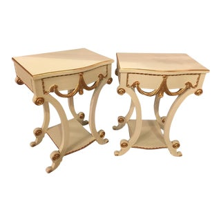 Grosfeld House Paint and Gilt Decorated End Tables or Nightstands - A Pair