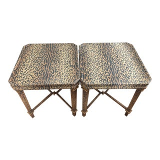 Neoclassical Hand Painted Faux Leopard Side Tables - a Pair For Sale