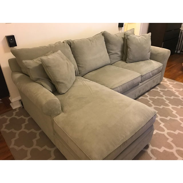 Macy's Doss Microfiber Sectional With Chaise For Sale - Image 4 of 4