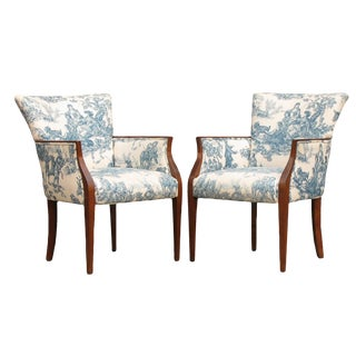 Art Deco Blue & White Toile Bergères, Pair For Sale