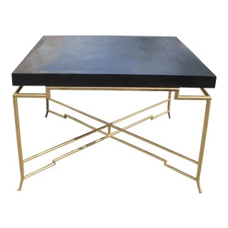 1940s Art Deco Brass Leg Dining Table For Sale