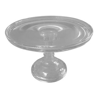 1910s Country Blown Molded Glass Cake Pedestal