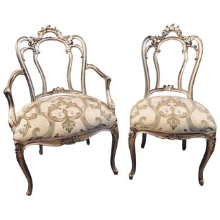 Six Louis XV Style Silver Gilt Recently Refinished and Upholstered Dining Chairs For Sale