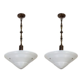 Large Art Deco Milk Glass Cone Pendants With Brass Stems - a Pair For Sale