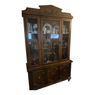1980s Vintage China Cabinet For Sale