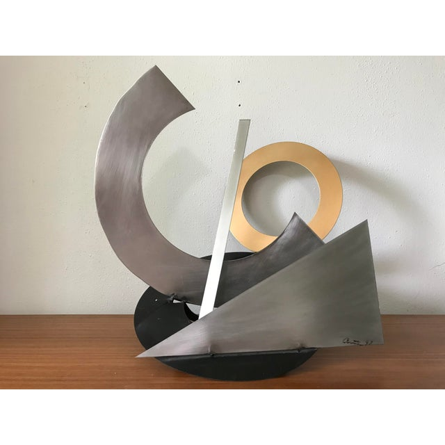 1990s Post Modern Abstract Mixed Metal Sculpture For Sale - Image 5 of 6