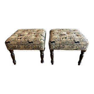Vintage English Regency-Style Ottomans - a Pair For Sale