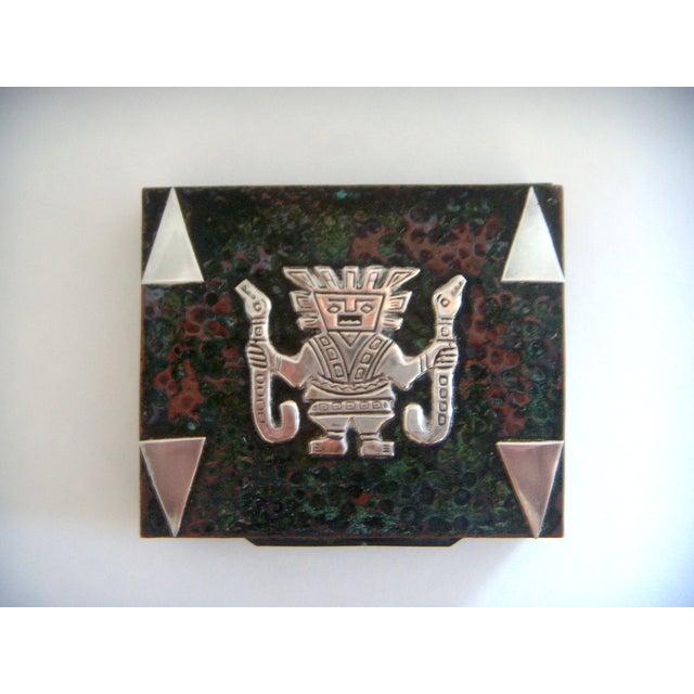 Vintage Aztec Cigarette / Cigar Box, Solid Silver Appliqué on Copper (Humidor) For Sale - Image 4 of 4