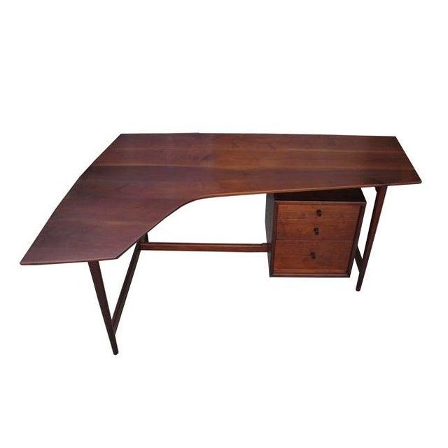 Richard Artschwager studio desk crafted of solid black walnut.