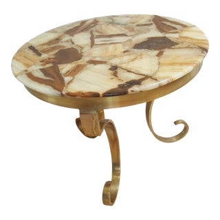 Hollywood Regency Arturo Pani Onyx and Brass End Table For Sale