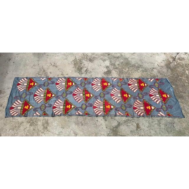 Silk Blue Suzani Table Runner - Image 4 of 6