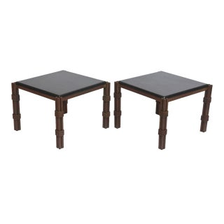 Pair of Mexican Modern Gilt and Painted Iron Marble-Top Tables by Arturo Pani For Sale