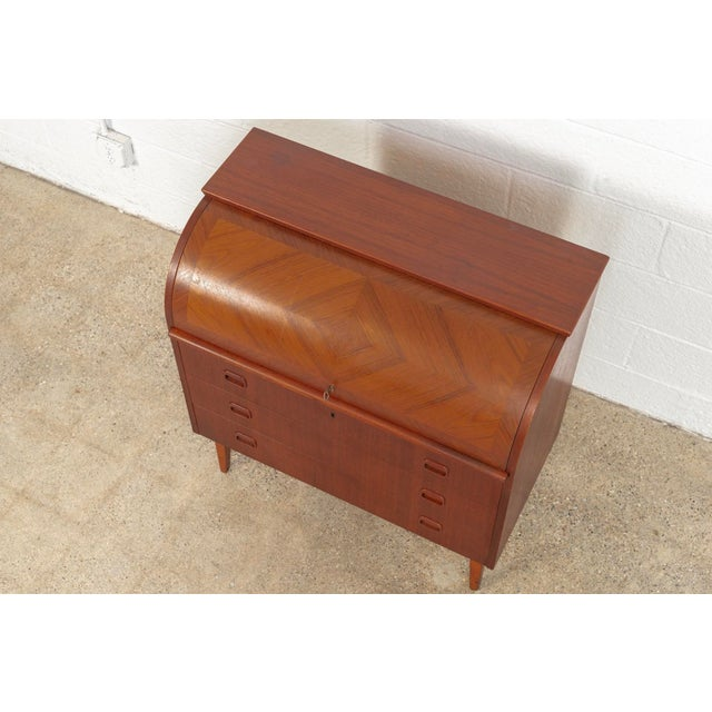 Mid Century Swedish Egon Ostergaard Rolltop Secretary Desk For Sale - Image 10 of 11