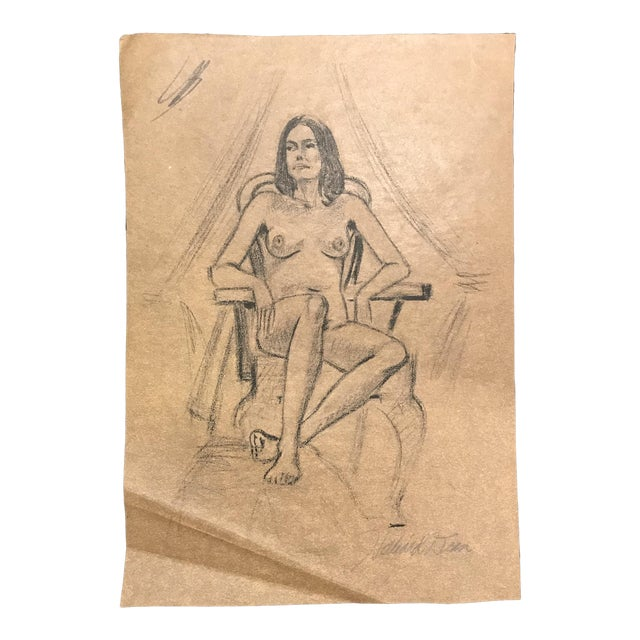 1970s Hilliard Dean Female Nude Drawing For Sale