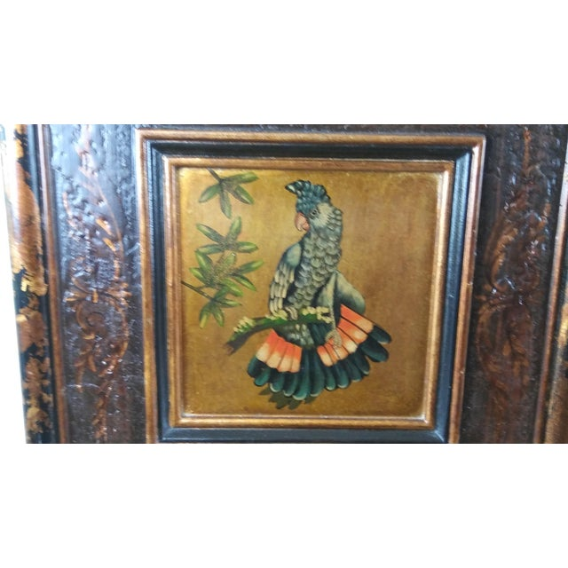 Realism Castilian Imports Tropical Birds Wood Wall Plaque Panels - A Pair For Sale - Image 3 of 10