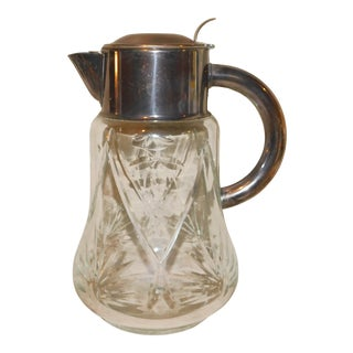 German Cut Glass and Silverplate Pitcher For Sale