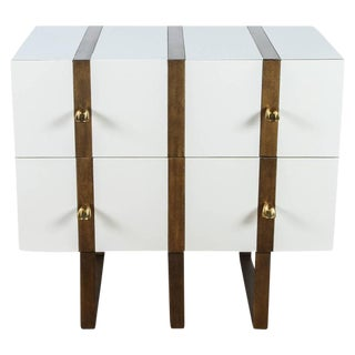 Paul Marra Two-Drawer Banded Chest in Lacquered Finish and Inset Iron Band