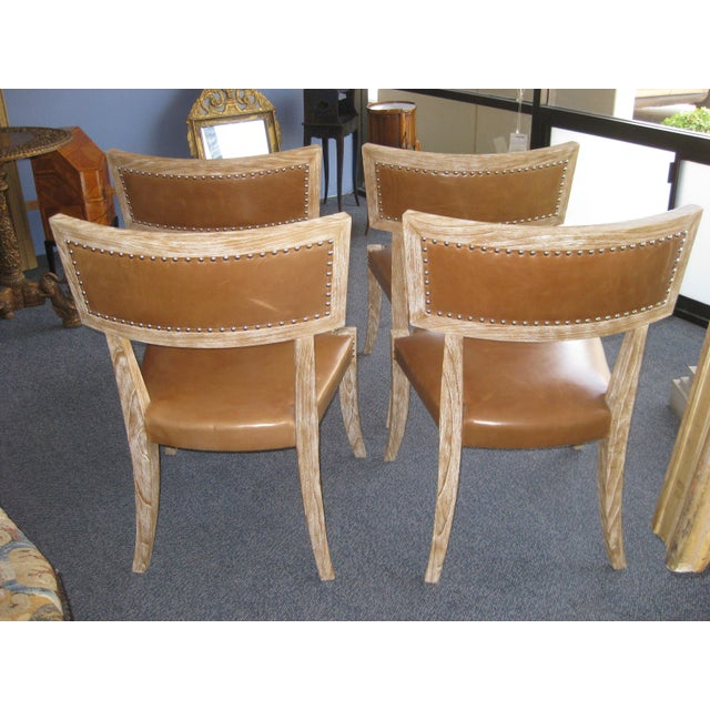 Klismos Style Chairs With Leather Seats - Set of 4 - Image 6 of 9