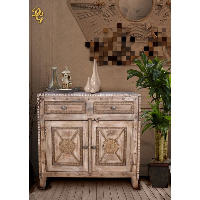 Rustic Style Two Drawer Mango Wood Cabinet/ Sideboard - Image 2 of 6