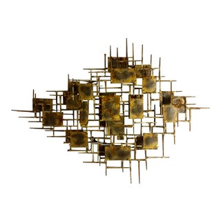 Mid Century Vintage Brutalist Marc Creates Brass Wall Sculpture For Sale