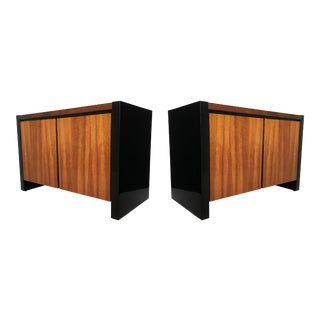 Pair of Black Lacquer and Koa Wood Nightstands by Henredon For Sale