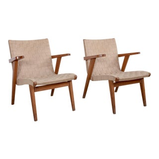 Pair of Jens Risom Lounge Arm Chairs in Solid Oak for Knoll, France